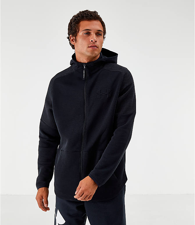Front view of Men's Under Armour Unstoppable Move Light Full-Zip Hoodie in Black