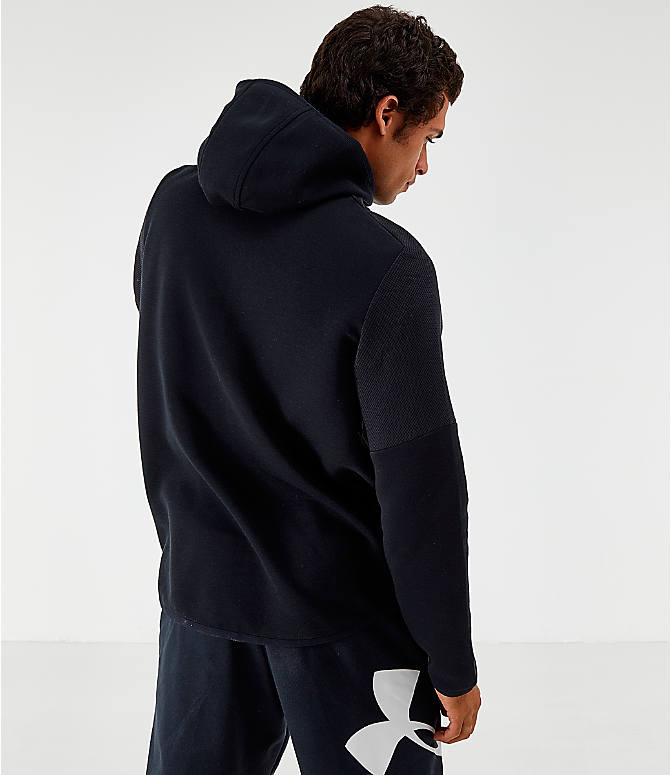 Back Left view of Men's Under Armour Unstoppable Move Light Full-Zip Hoodie in Black