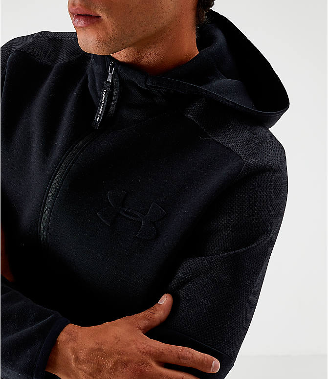 Back Right view of Men's Under Armour Unstoppable Move Light Full-Zip Hoodie in Black