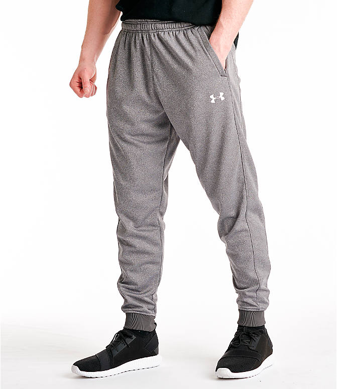 Front view of Men's Under Armour Storm Armour Fleece Pants in Charcoal/White