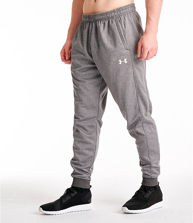 Front Three Quarter view of Men's Under Armour Storm Armour Fleece Pants in Charcoal/White