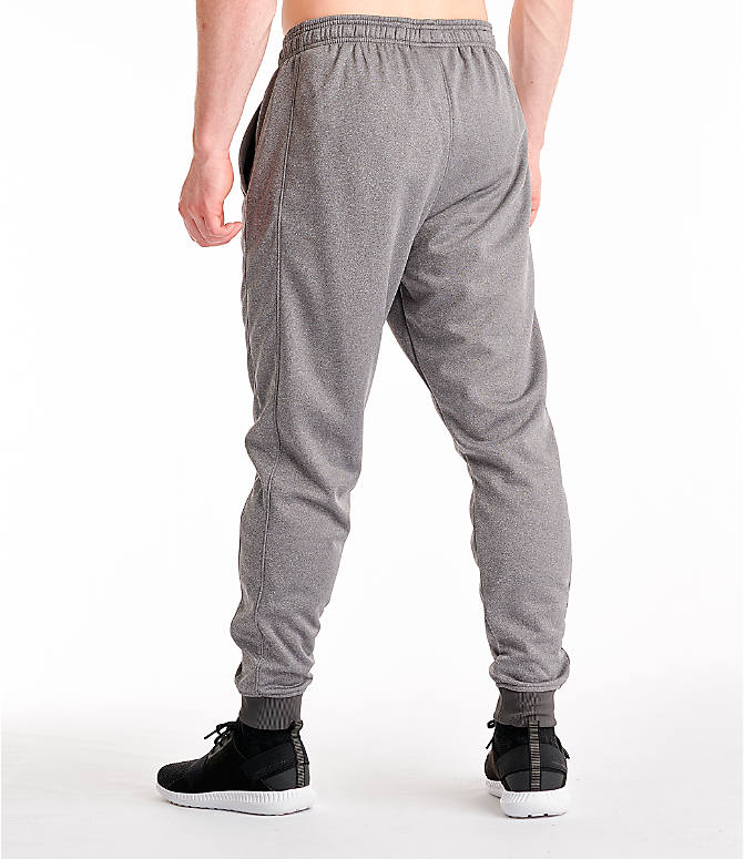 Back Left view of Men's Under Armour Storm Armour Fleece Pants in Charcoal/White