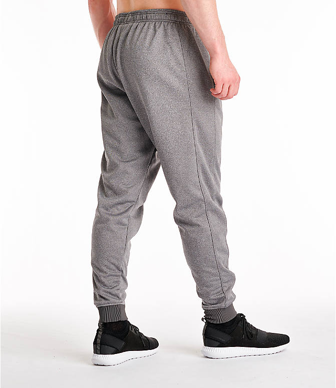 Back Right view of Men's Under Armour Storm Armour Fleece Pants in Charcoal/White