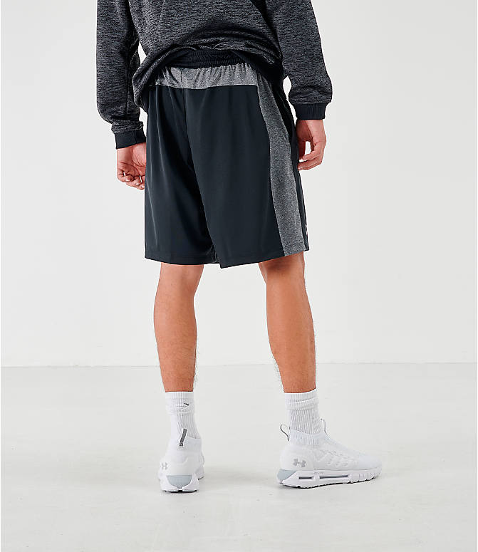 Back Right view of Men's Under Armour MK1 Training Shorts in Black/Grey
