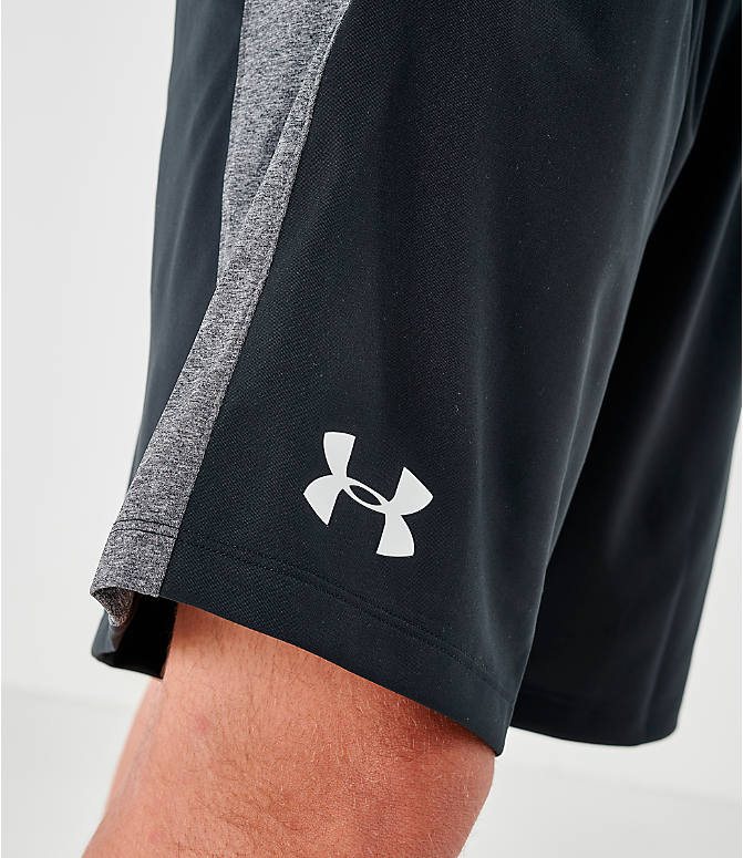 On Model 5 view of Men's Under Armour MK1 Training Shorts in Black/Grey