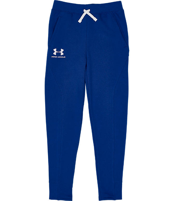 Front view of Boys' Under Armour Rival Jogger Pants in Royal Blue