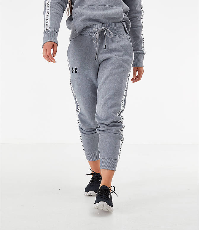Front view of Women's Under Armour Originators Fleece Jogger Pants in Grey Heather