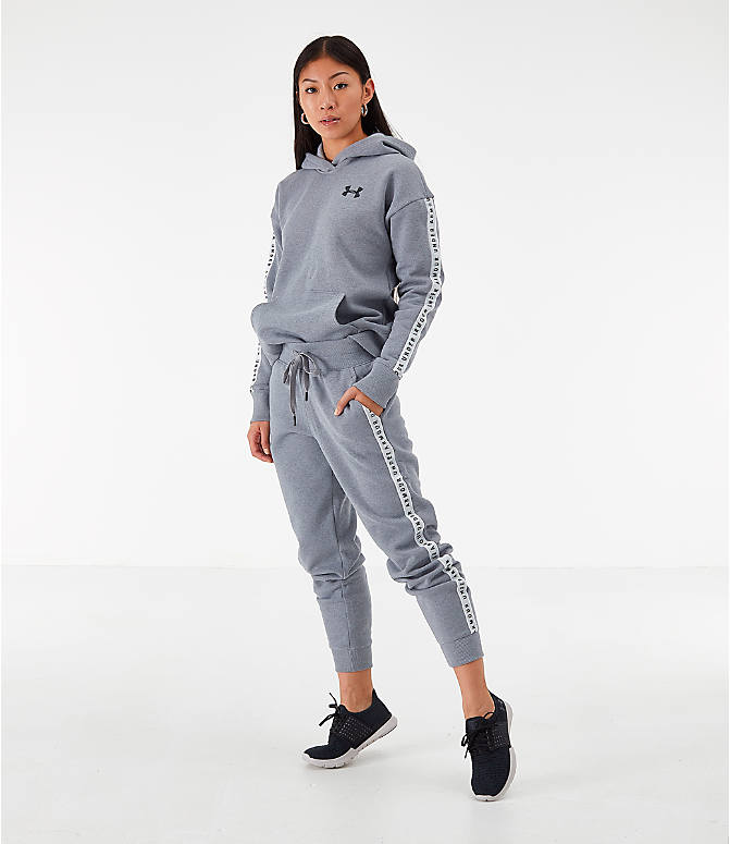 Front Three Quarter view of Women's Under Armour Originators Fleece Jogger Pants in Grey Heather
