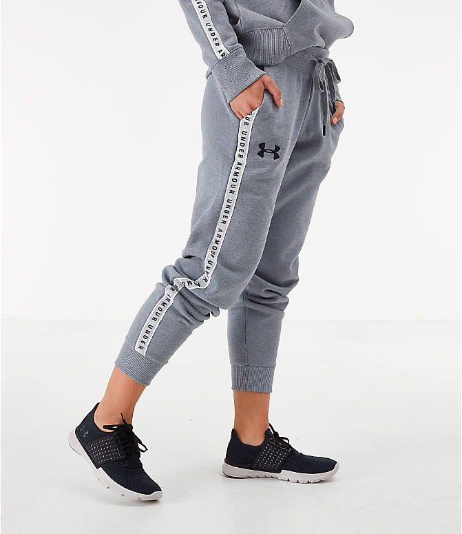 Back Left view of Women's Under Armour Originators Fleece Jogger Pants in Grey Heather