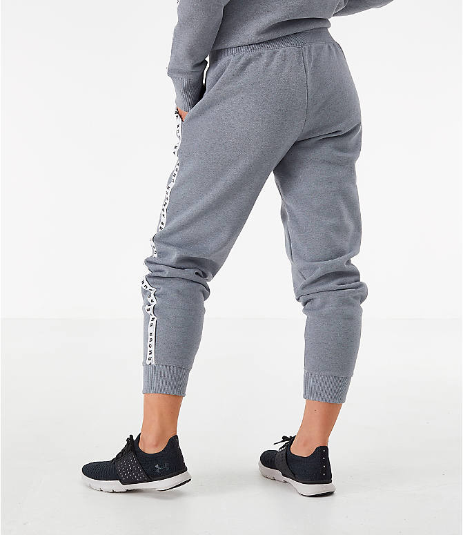 Back Right view of Women's Under Armour Originators Fleece Jogger Pants in Grey Heather