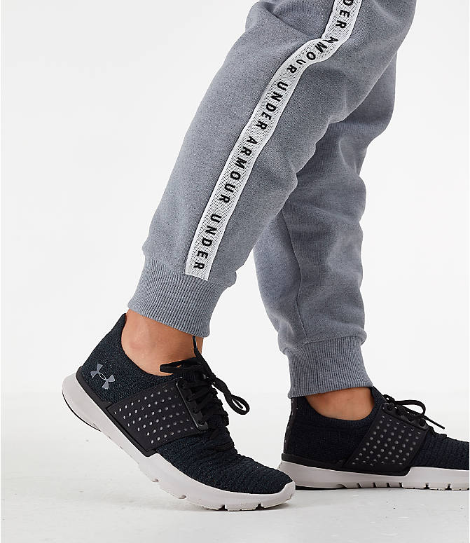 On Model 6 view of Women's Under Armour Originators Fleece Jogger Pants in Grey Heather