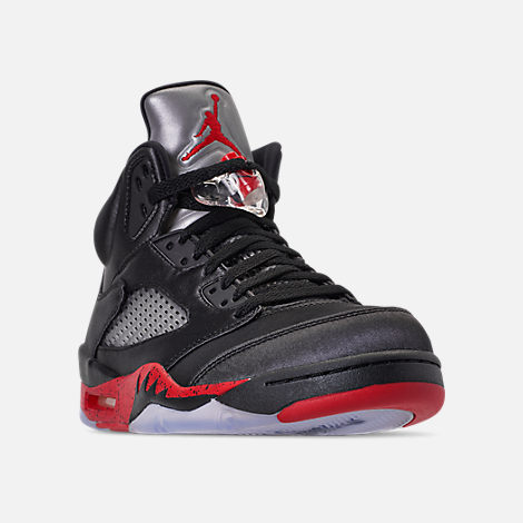 6539d08fc44 Three Quarter view of Men s Air Jordan Retro 5 Basketball Shoes in  Black University Red