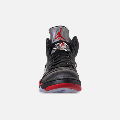 38c123d57665 Front view of Men s Air Jordan Retro 5 Basketball Shoes in Black University  Red