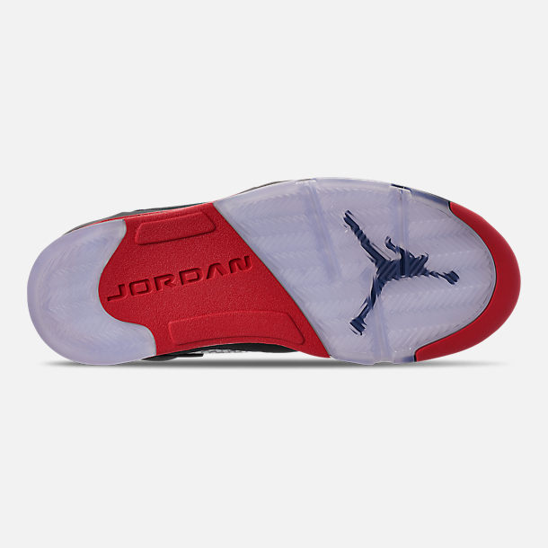 a3e030fec289 Bottom view of Men s Air Jordan Retro 5 Basketball Shoes in Black University  Red