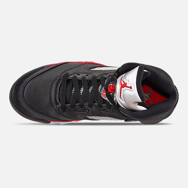 07e01dfa17ab Top view of Men s Air Jordan Retro 5 Basketball Shoes in Black University  Red