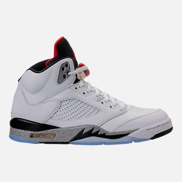 Right view of Men's Air Jordan 5 Retro Basketball Shoes in White/University  Red/