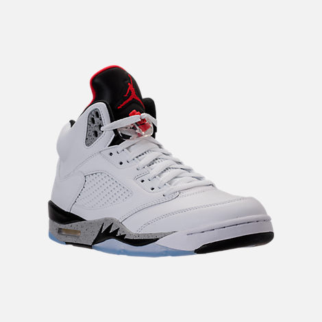 Three Quarter view of Men's Air Jordan 5 Retro Basketball Shoes in  White/University Red