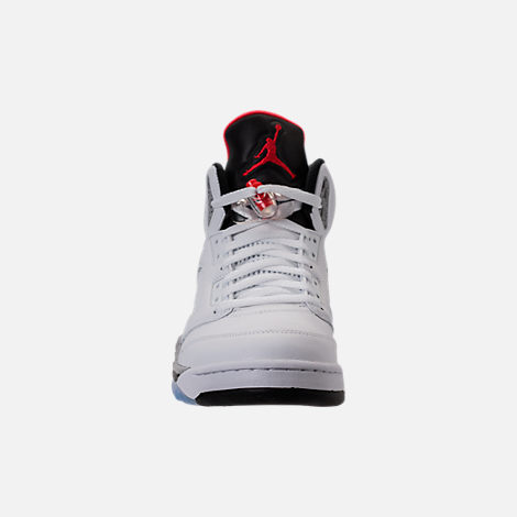 Front view of Men's Air Jordan 5 Retro Basketball Shoes in White/University  Red/