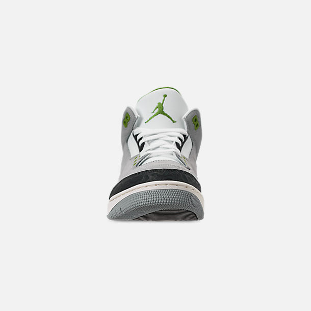 pretty nice 54153 ce86f Front view of Men s Air Jordan Retro 3 Basketball Shoes in Light Smoke Grey  Chlorophyll