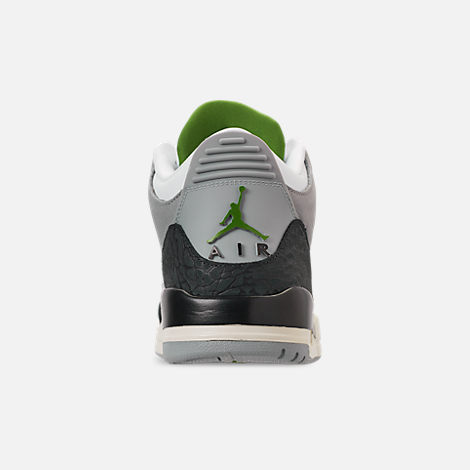 Back view of Men's Air Jordan Retro 3 Basketball Shoes in Light Smoke Grey/Chlorophyll/Black