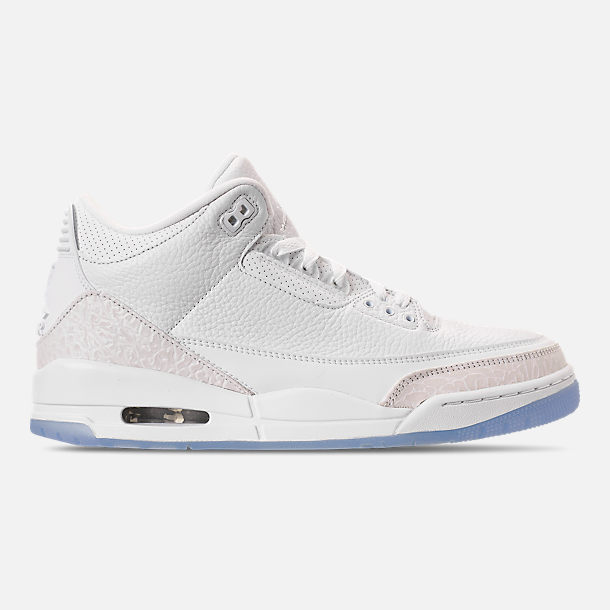 Right view of Men's Air Jordan Retro 3 Basketball Shoes in Triple White