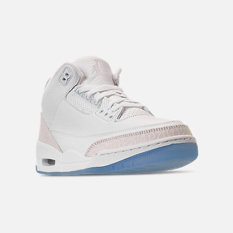 Three Quarter view of Men's Air Jordan Retro 3 Basketball Shoes in Triple White