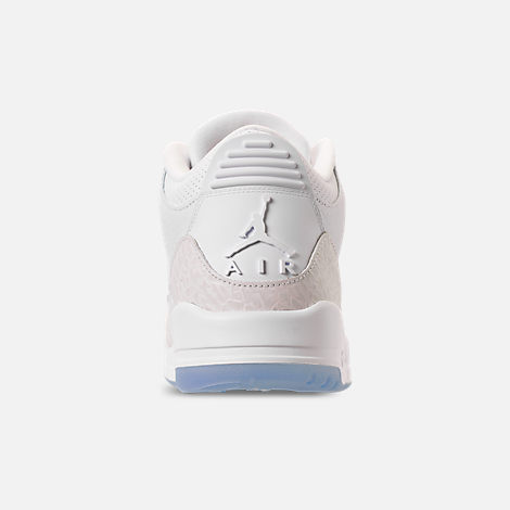 Back view of Men's Air Jordan Retro 3 Basketball Shoes in Triple White