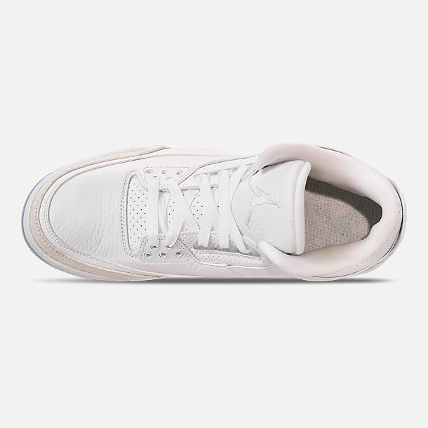Top view of Men's Air Jordan Retro 3 Basketball Shoes in Triple White
