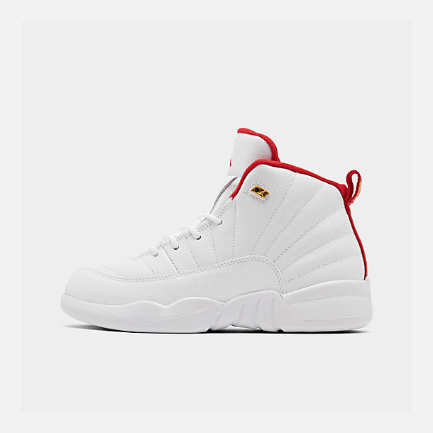 Right view of Little Kids' Air Jordan Retro 12 Basketball Shoes in White/University Red/Metallic Gold