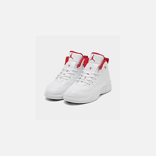 Three Quarter view of Little Kids' Air Jordan Retro 12 Basketball Shoes in White/University Red/Metallic Gold