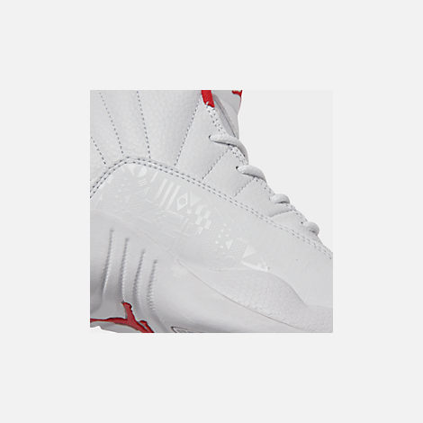 Front view of Little Kids' Air Jordan Retro 12 Basketball Shoes in White/University Red/Metallic Gold