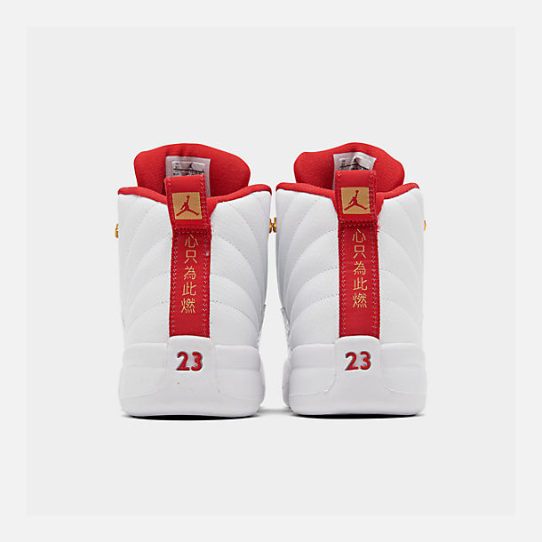 Left view of Little Kids' Air Jordan Retro 12 Basketball Shoes in White/University Red/Metallic Gold
