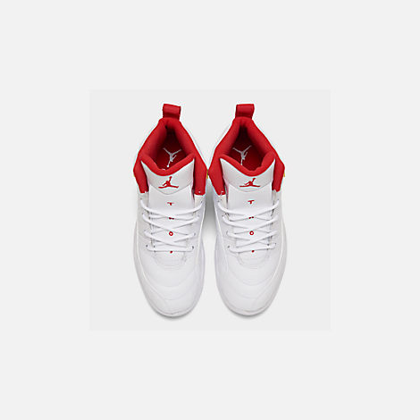 Back view of Little Kids' Air Jordan Retro 12 Basketball Shoes in White/University Red/Metallic Gold
