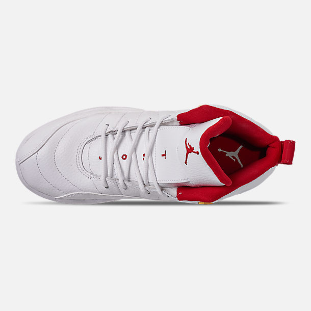 Top view of Little Kids' Air Jordan Retro 12 Basketball Shoes in White/University Red/Metallic Gold
