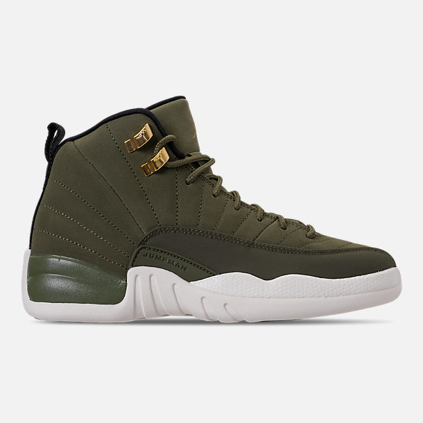 Right view of Kids' Grade School Air Jordan Retro 12 Basketball Shoes in Olive Canvas/Black/Sail