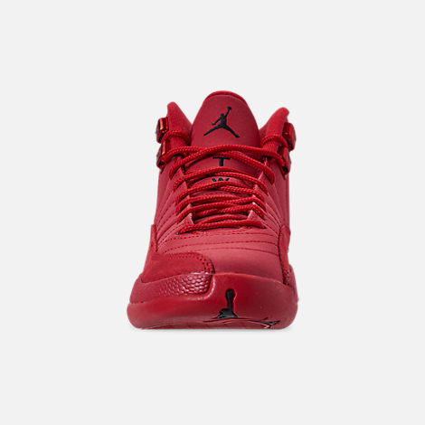 Front view of Big Kids' Air Jordan Retro 12 Basketball Shoes in Gym Red/Black