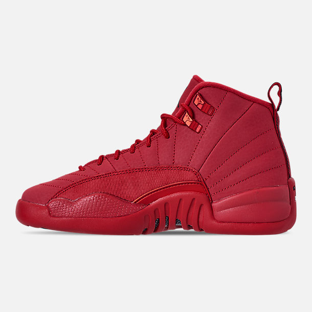 Left view of Big Kids' Air Jordan Retro 12 Basketball Shoes in Gym Red/Black