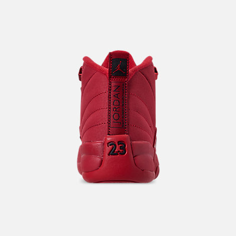 Back view of Big Kids' Air Jordan Retro 12 Basketball Shoes in Gym Red/Black