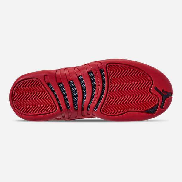 Bottom view of Big Kids' Air Jordan Retro 12 Basketball Shoes in Gym Red/Black