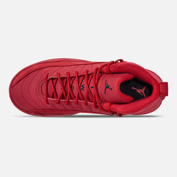 Top view of Big Kids' Air Jordan Retro 12 Basketball Shoes in Gym Red/Black