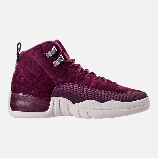 Right view of Kids' Grade School Air Jordan Retro 12 Basketball Shoes in Bordeaux/Sail/Metallic Silver