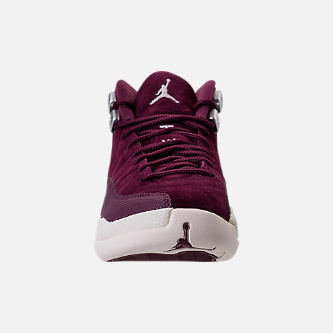 Front view of Kids' Grade School Air Jordan Retro 12 Basketball Shoes in Bordeaux/Sail/Metallic Silver