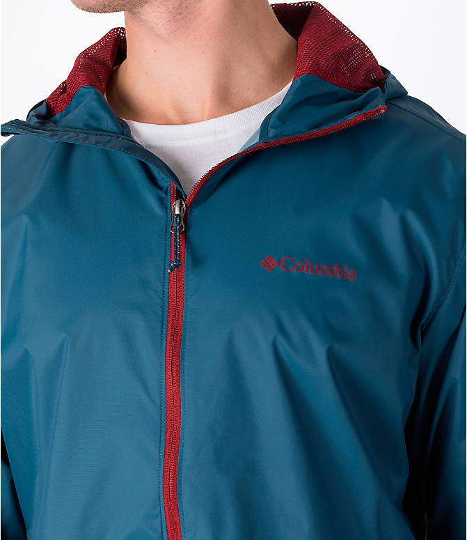 Detail 1 view of Men's Columbia Roan Mountain Rain Jacket in Whale/Red Element