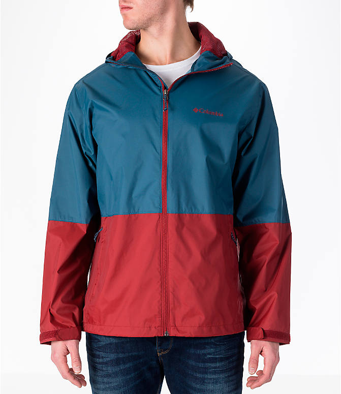 Front view of Men's Columbia Roan Mountain Rain Jacket in Whale/Red Element