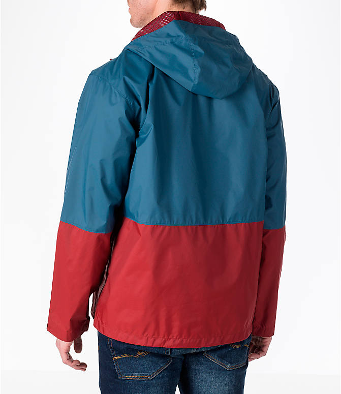 Back Left view of Men's Columbia Roan Mountain Rain Jacket in Whale/Red Element