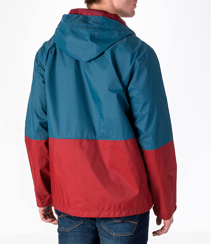 Back Right view of Men's Columbia Roan Mountain Rain Jacket in Whale/Red Element