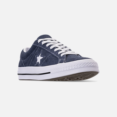 Three Quarter view of Men's Converse One Star Ox Casual Shoes in Converse Navy
