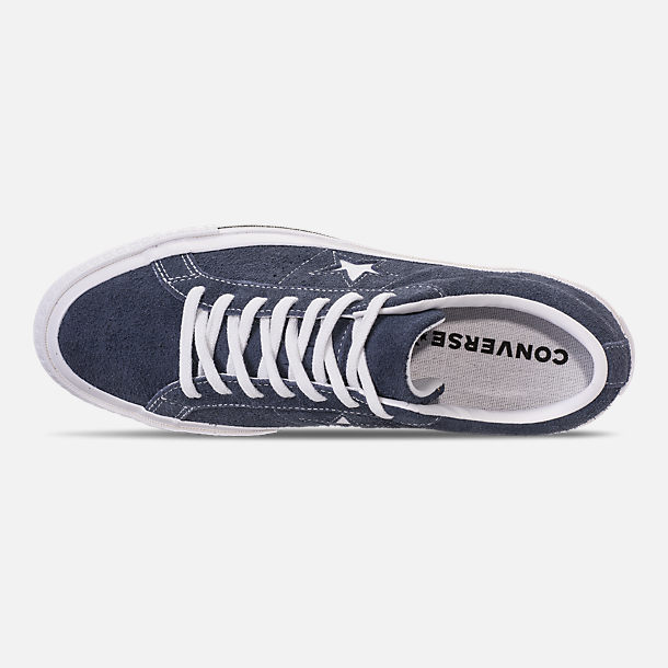 Top view of Men's Converse One Star Ox Casual Shoes in Converse Navy