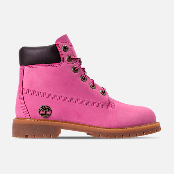 Right view of Girls' Grade School Timberland 6 Inch Classic Boots in Pink