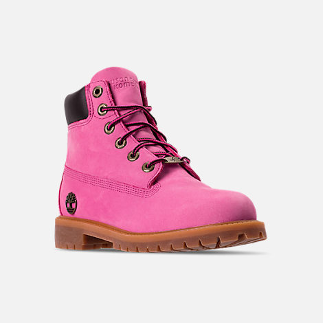 Three Quarter view of Girls' Grade School Timberland 6 Inch Classic Boots in Pink